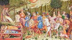 The Triumph of Death, a wall-painting by Francesco Traini (c. 1350).  A hunting party comes across three open coffins.  The corpses are rotting.  Vipers crawl over them.  The smell is terrible.  Even the horses and the dogs are scared. 'What you are, we were. What we are, you will be,' the corpses tell the nobles.