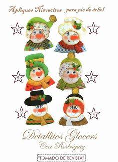 PIE DE ARBOL NAVIDEÑO APLIQUES NIEVES Xmas, Christmas Ornaments, Advent Calendar, Snowman, Holiday Decor, Home Decor, Holiday Ornaments, Appliques, Decorations