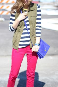 Lilly Style: casual in stripes, red skinnies, utility vest