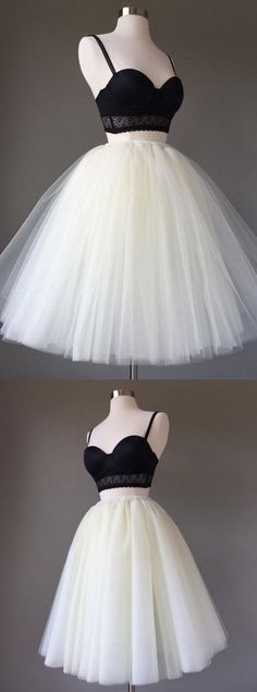 Straps Prom Dresses, Black and White Short Prom Dresses, 2018 Two Pieces Homecoming Dress, Sexy Ball Gown, Tulle Mini Party Dress #HomecomingDress