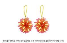 Earrings: real flowers coated of gold metal. Design #VisionOfJewels by #ThierryRegnier