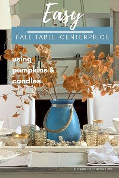 Feeling overwhelmed.... and need a quick & simple fall centerpiece this year? Try this super Easy Fall Centerpiece: Using Candles and Pumpkins by thetarnishedjewelblog.com. Table setting option included too. #falltablescape #falltabledecor #falltablecenterpiece #falltablescapes #falltablesetting #diyfalldecor #autumntabledecor #autumndecorations #falldecoratingideas #falldecor #falldecorations #easyfalldecor Fall Table Centerpieces, Setting Option, Fall Table Settings, Pumpkin Candles, Feeling Overwhelmed, Fall Decorating, Coastal Style, Pumpkins, Modern Farmhouse