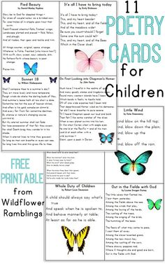 Poetry for children Help your child enjoy the beauty of words and poetry with these free recitation cards, featuring poems by the most famous poets. Printable Cards, Free Printables, Childhood Poem, Kids Poems, Famous Poems For Kids, Poetry Activities, Poetry For Kids, Classical Education, Education English