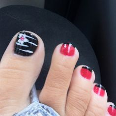 pedicure: Black polish with white stripes and a flower w/ a pink rhinestone center. *Small toe nails: Red Polish with Black French tips. Get Nails, Fancy Nails, Love Nails, How To Do Nails, Pretty Nails, Hair And Nails, Pedicure Nail Art, Pedicure Designs, Pedicure Ideas