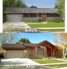 Exterior Transformation Ranch With Attached Garage   Google Search