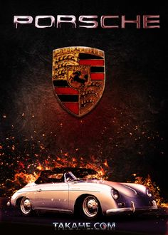 A Porsche Super Speedster from 1957 in flames … Una Porsche Super Speedster del 1957 in fiamme Porsche 356a, Porsche Logo, Metallica, Racing, Bike, Cars, Prints, Poster, Autos