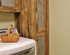 Rustic Mudroom Cabinet (Tall Storage) - Reclaimed Barn Wood Cabinet w/Tin Doors (Unfinished) Barn Wood Cabinets, Mudroom Cabinets, Kitchen Cabinets For Sale, Rustic Kitchen Cabinets, Upper Cabinets, Kitchen Rustic, Antique Cabinets, Storage Cabinets, Laundry Room Storage