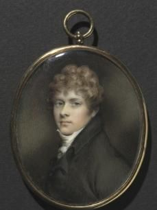 Portrait of a Young Man, by Andrew Plimer (British, 1763-1837) c. 1805, miniature, watercolor on ivory