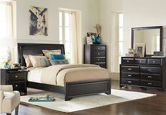 picture of Belcourt Black 5 Pc King Upholstered Bedroom from King Bedroom Sets Furniture