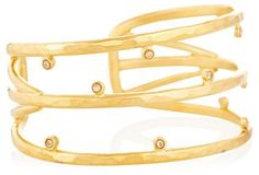 Golden Three-Bar Crystal Cuff
