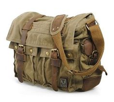 Men's Vintage Canvas Leather Messenger Shoulder Bag Military Satchel Hiking Bag