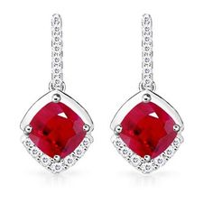 Angara Oval Ruby and Diamond Dangling Earrings in White Gold 1IlmEVnY