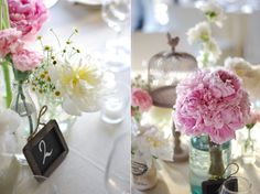 pink, white and yellow flower centerpieces of peonies and chamomile in mason jars and bottles via Valdirose