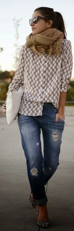 Fall Outfit With Chiffon Shirt,Leopard Pumps and Infinity Scarf