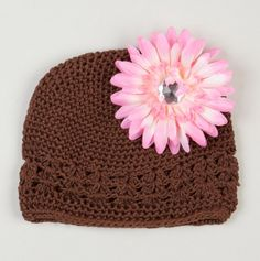 Brown Hat With Flower.