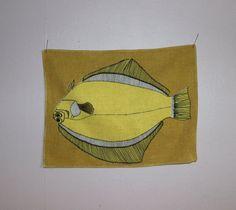 Stunning vintage retro textile artwork: wall hanging Fish Tapestry. Made in Sweden Scandinavian