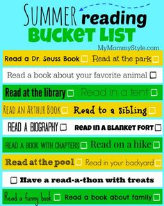 Summer Reading Bucket List- I want to do this with my kids