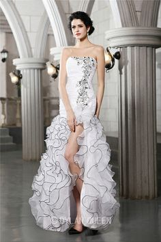 Sexy Sheath/Column Strapless Sleeveless Beading Floor-Length Organza Wedding Dress