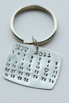 Gift For Him :: Wedding Calendar :: Calendar Key Chain IMPORTANT: This is a lite weight STERLING silver piece. If you would like something heavier in sterling the price will be much more. This is not aluminum or nickel, it is a high quality metal It is not meant to be heavy and cumbersome! If you would like something heavier please contact us This is an all STERLING silver, a nice lite weight gauge that I can stamp with any month of your choosing and then a heart in place of the special…