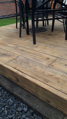Scaffold board garden decking