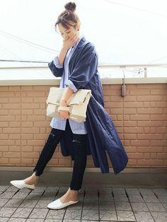 フレイドヘムでまたnoロールアッパー٩(๑•ε・๑)۶      ストライプシャツ×シャツワンピ Midi Skirt, Normcore, Skirts, How To Wear, Style, Fashion, Swag, Moda, Skirt