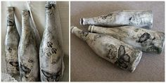 Decoupage bottles- gorgeous... Officially obsessed with decoupage