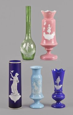 A collection of 'Mary Gregory' style Glass Vases.