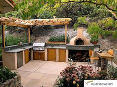 built in BBQ and pizza oven Pizza Oven Outdoor, Outdoor Cooking, Outdoor Entertaining, Outdoor Spaces, Outdoor Living, Outdoor Decor, Outdoor Kitchen Countertops, Concrete Countertops, Built In Bbq