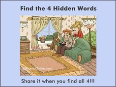 Picture Riddle: Find the 4 Words Hidden in the Picture Mystery Riddles, Brain Teasers Riddles, Brain Teasers With Answers, Brain Teaser Puzzles, Hidden Words In Pictures, Hidden Picture Puzzles, Word Pictures, Mind Puzzles, Maths Puzzles