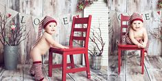 love the background and red chair.  not so much a naked baby.