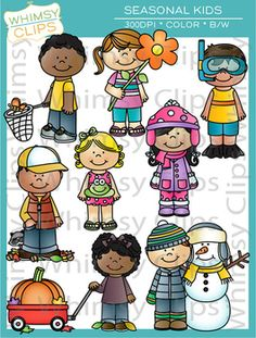 The Seasonal Kids clip art set contains 16 image files, which includes 8 color images and 8 black & white images in png and jpg. There are 2 kids per season in this set. All images are 300dpi for better scaling and printing. $