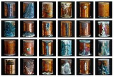 """David Maisel - Library of Dust. """"The series depicts individual copper canisters, each containing the cremated remains of patients from a state-run psychiatric hospital, whose bodies have been unclaimed by their families. Copper Canisters, Advanced Photography, Indie Films, Casket, Landscape Photographers, Ceramic Art, Photo Art, Minerals, Bloom"""