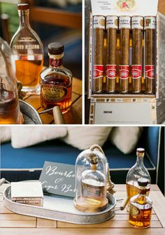 Wedding -- Bourbon and Cigar Bar for the groom and groomsmen - @jencarreiro