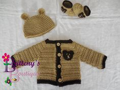 How cute would your little one look in this adorable set!?!  A teddy bear hat would be so cute for bringing home your newborn!  This sweater set would make the perfect baby shower gift!  The sweater was made using my Two Tone Sweater pattern, so you know it was made with extra love! It's available for free on my blog