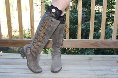Womens Black Lace Boot Cuff Womens Boot Socks by ColoradoChickCo