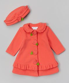 Look at this Coral Flower Hat & Coat - Infant, Toddler & Girls by Gerson & Gerson Toddler Outfits, Kids Outfits, Cute Outfits, Baby Girl Dresses, Baby Dress, Baby Girl Fashion, Kids Fashion, Kids Coats, Kids Wear