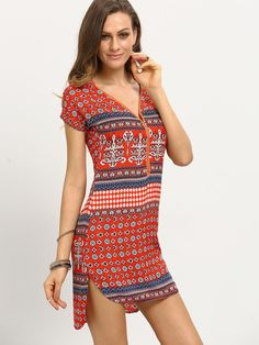 DESCRIPTION Fabric :Fabric has no stretch Season :Summer Type :Tunic Pattern Type :Tribal Print Sleeve Length :Short Sleeve Color :Multicolor Dresses Length :Sh