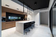 Kuchnia | Offa Studio Minimalist Kitchen, Kitchen Design, Room Ideas, House Ideas, Loft, Interiors, Lights, Living Room, Table
