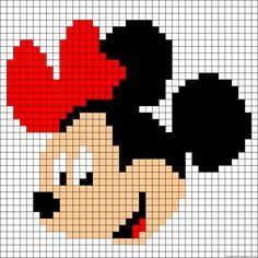 "Minnie Mouse perler bead pattern - Crochet / knit / stitch charts and graphs [ ""quick and simple for cards - add sparkle"", ""Learn to make your own colorful bracelets of threads or yarn. As fun for beginners as it is to intermedates. Knitting Charts, Knitting Stitches, Baby Knitting, Embroidery Stitches, Embroidery Patterns, Knitting Patterns, Crochet Patterns, Crochet Ideas, Simple Embroidery"
