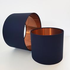 Navy and Brushed Copper Lampshade Navy Blue Cotton Lampshade with Metallic Copper Lining Navy Gold Bedroom, Navy Bedrooms, Navy Living Rooms, My Living Room, Blue Bedroom, Blue And Copper Living Room, Navy And Copper, Copper Decor Living Room, Copper Interior