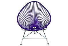 Innit The Baby Acapulco Kid's Papasan Chair Finish: Olive Green, Weave Finish: Chrome Patio Lounge Chairs, Side Chairs, Outdoor Chairs, Outdoor Spaces, Acapulco Chair, Papasan Chair, Dot And Bo, Baby Design, Cancun