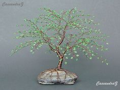 Wire Tree Beaded Bonsai Cherry Blossom Sculpture by CassandraZ