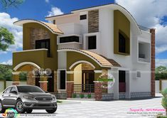 5 bedroom modern curved roof mix 2233 square feet by Haris Mohammed, Kasaragod, Kerala. Duplex House Plans, Duplex House Design, Small House Design, Small House Plans, Modern House Design, Front Elevation Designs, House Elevation, Architecture Visualization, Modern Architecture