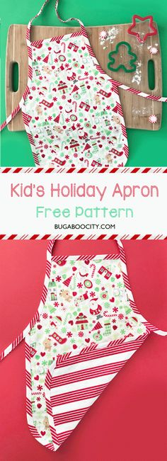 Grab this free pattern to create a fun DIY Children's Holiday Apron! Perfect for baking cookies, decorating gingerbread houses and other holiday festivities! Childrens Apron Pattern, Child Apron Pattern, Apron Pattern Free, Childrens Aprons, Aprons For Kids, Pattern Sewing, Kids Apron Patterns, Pattern Ideas, Dress Patterns