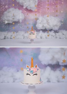 rainbow unicorn cake smash with clouds and twinkle stars  by Richmond Chesterfield Midlothian Virginia Child and Baby Cake Smash photographer Bear Lane Photography