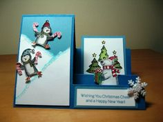 Polar Party Side Stair Step Card by Lisa Eifert - Cards and Paper Crafts at Splitcoaststampers Handmade paper card Chrismas Cards, Christmas Cards To Make, Xmas Cards, Holiday Cards, Fun Fold Cards, Folded Cards, Center Step Cards, Side Step Card, Stepper Cards