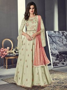 Olive Green And Peach Embroidered Silk Anarkali Suit - Hatkay