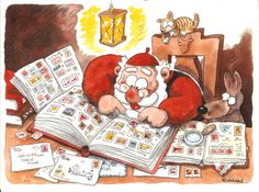 Artwork by Mauri Kunnas. Christmas Books, Christmas Cards, Finland, Auction, My Love, Children, Artwork, Stamps, Pictures