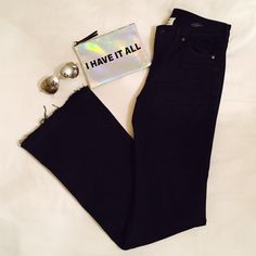 """Flare Leg Jeans H&M black flare leg regular waist jeans with raggedy hem. 42.5"""" in length from top to bottom and 32"""" inseam. Only worn once H&M Jeans Flare & Wide Leg"""