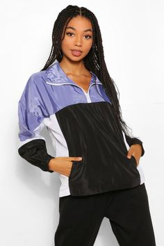 Vintage Jackets, Retro Style Jackets Womens Funnel Neck Panelled Overhead Windbreaker - Blue - 12 $15.00 AT vintagedancer.com Womens Windbreaker, Windbreaker Jacket, Duster Cardigan Sweater, Houndstooth Coat, Plastic Raincoat, Leather Trench Coat, Funnel Neck, Vintage Jacket, Retro Fashion